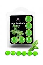 6 Brazilian Balls - menthe : La chaleur du corps transforme la brazilian ball en liquide glissant au parfum menthe, votre imagination s'en trouve exacerbée.