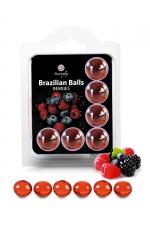 6 Brazilian Balls - baies rouges : La chaleur du corps transforme la brazilian ball en liquide glissant au parfum de baies rouges, votre imagination s'en trouve exacerbée.