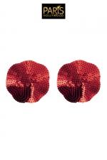 Nipples rouges sequin - Paris Hollywood : Caches tétons auto-adhésifs en forme de pétale rouge, recouverts de sequins brillants, pour sublimer votre poitrine.