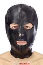 Cagoule BDSM 3 ouvertures en simili cuir - Fetish Tentation : Cagoule Fetish SM haute qualité en faux cuir, laissant la bouche et les yeux visibles.
