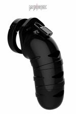 Cage de chasteté 14cm ManCage 05 noir : Cage de chasteté masculine ajustable, noire, longueur 14 cm, adaptée aux verges de grande taille, par ManCage.