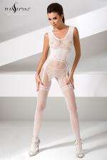 Combinaison BS052 - Blanc : Combinaison sexy en résille blanche avec un motif guêpière et string dessiné dans la maille.