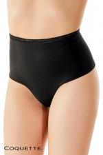String culotte taille haute  : Un string taille haute noir opaque, qui affine naturellement la silhouette.