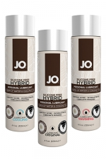 Lubrifiant Jo hybrid sans silicone - 120 ml : A base d'eau et d'huile de noix de Coco, ce lubrifiant hybride est un Must Have de la marque System Joe.
