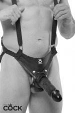 Gode ceinture creux 25 cm - noir : Harnais gode-ceinture creux Premium pour hommes, avec bretelles de soutien, équipé d'un gode réaliste taille XXL, couleur noir.