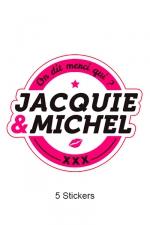 Pack 5 stickers J&M n°1 : Pack de 5 Stickers blancs Jacquie & Michel  (dimensions 8.1 x 7 cm) à coller où vous voulez.