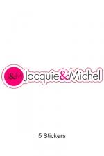 Pack 5 stickers J&M n°7 : Pack de 5 Stickers Jacquie & Michel  (dimensions 12 x 2.9 cm) à coller où vous voulez.
