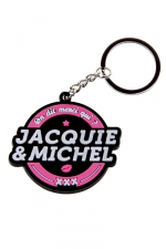 Porte-clés J&M logo rond : porte-clés Jacquie & Michel, forme ronde, et son slogan incontournable On dit merci qui ? Merci Jacquie & Michel.