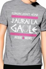 Tee-Shirt J&M j'aurai la Gaule - gris : Comme disait César, j'aurai la Gaule, un T-shirt de la collection officielle Jacquie & Michel. Coloris gris.