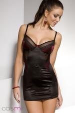 Nuisette Diona : Robe nuisette moulante noire, éclairée d'empiècements rouge sombre recouverts de dentelle. Une féminité simplement raffinée.