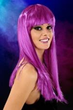 Perruque cheveux longs Violet : Perruque fantaisie avec cheveux longs couleur violet.