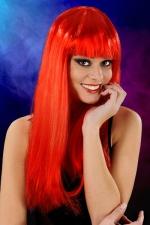 Perruque cheveux longs Rouge : Perruque fantaisie avec cheveux longs couleur rouge, marque Cabaret Wigs.
