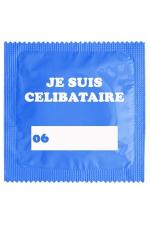 Préservatif humour - Je Suis Célibataire Bleu : Préservatif  Je Suis Célibataire Bleu, un préservatif personnalisé humoristique de qualité, fabriqué en France, marque Callvin.