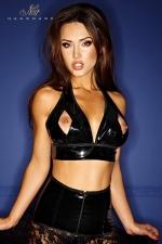 Top Bad Mary-Jane : Top dos nu en vinyle ouvert sur le bout des seins, fetish et fashion avec la chaine brillant qui court sous la poitrine.