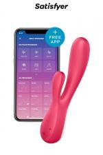 Vibro Rabbit connecté Mono Flex Rouge - Satisfyer : Double stimulation du clitoris et du point G, contrôle direct du sextoy ou à distance grâce à son app gratuite pour smartphones.