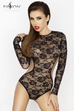 Body dentelle Yolanda : Body manches longues en dentelle à motif de roses, ouvert d'un large décolleté dans le dos.